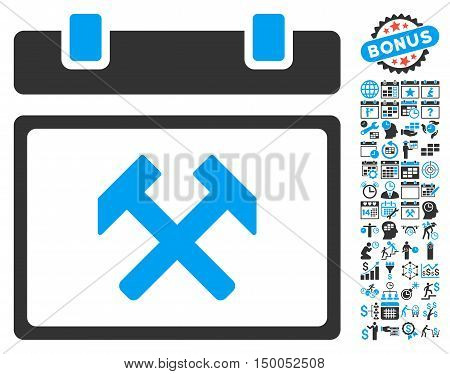 Working Calendar Page pictograph with bonus calendar and time management design elements. Vector illustration style is flat iconic bicolor symbols, blue and gray colors, white background.
