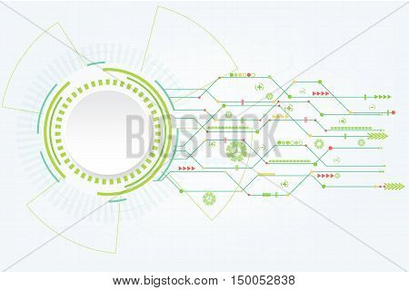 Abstract green technology background with various technological elements.