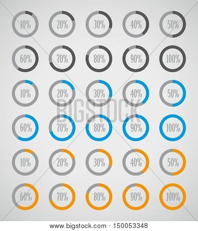 Set elements of infographics in pie charts. Set of colorful circle diagrams for infographics. Pie chart set icon. Vector illustration