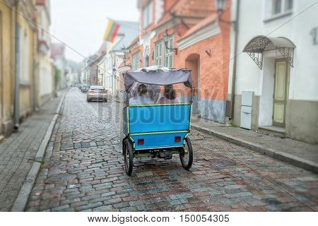 Trishaw vintage style on the old empty street