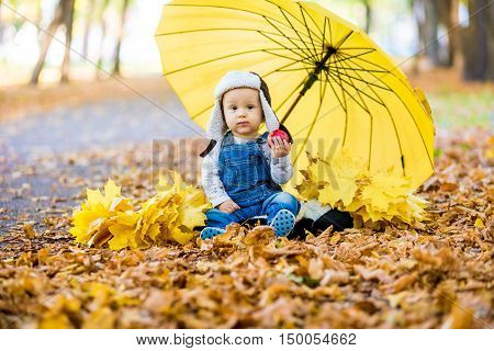 Little child sitting on grass with umbrella playing with yellow leafs in autumn day