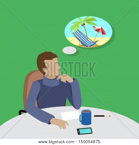 Dream holiday concept. Man in blue sweater sitting at the table and dreaming about vacation on the beach. Concept of big dreams. Isolated object in flat design on white background. Vector illustration