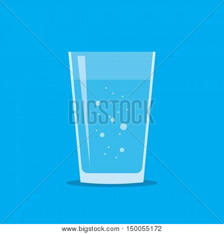 Glass of fresh aerated water icon in flat style isolated on blue background. Stylized vector eps10 illustration.