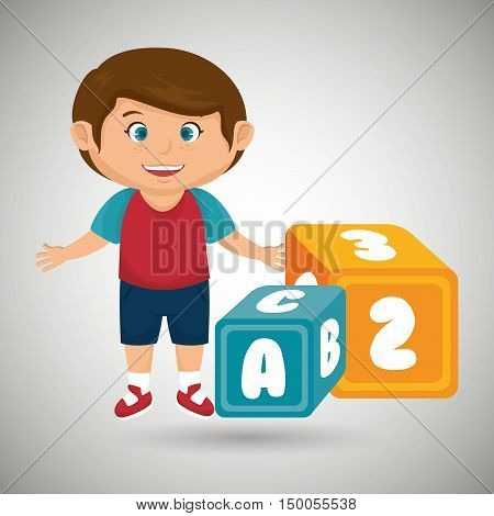 cartoon boy cube blue and yellow alphabet vector illustration eps 10