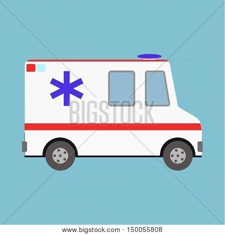 Vector Illustration Ambulance Car On Blue Background