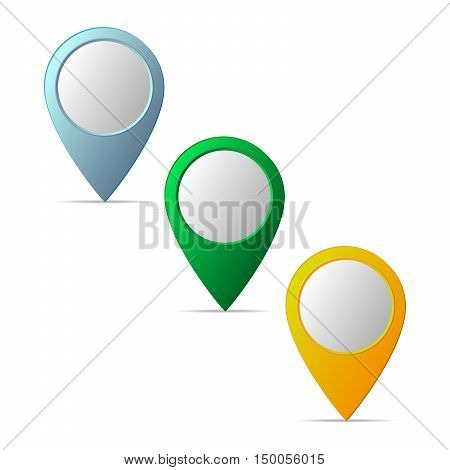 Pin on the map icon. Set of navigation map markers isolated. Collection of modern map markers. Set of Location icon. Vector illustration.