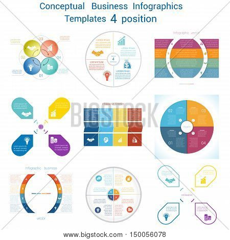 Set Vector templates Infographics business conceptual cyclic processes for four positions text area possible to use for pie chart workflow banner diagram web design timeline area chart