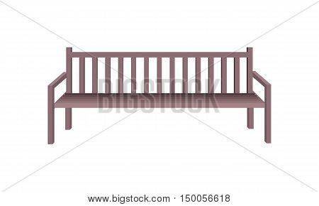Wooden park bench. Brown wooden bench icon.