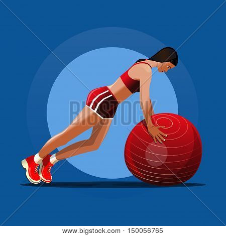 Fitball. Girl and red fitness ball. Girl doing exercise with ball. Vector illustration