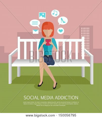 Social media addiction banner. Woman with smartphone sitting on wooden bench in the park.
