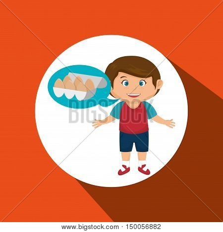 boy cartoon eggs food health vector illustration eps 10