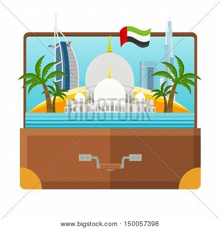 United Arab Emirates tourism poster design with attractions. Open suitcase with Emirates landmarks. Sheikh Zayed Mosque. Emirates travel poster design in flat. Travel composition with famous landmarks