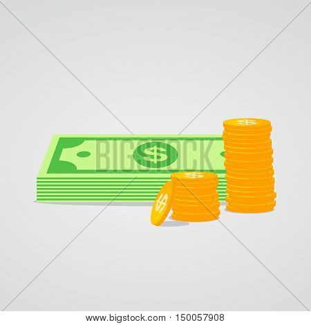 Money icon in flat style isolated. Dollar icon. Pile of cash and coins. Vector illustration.