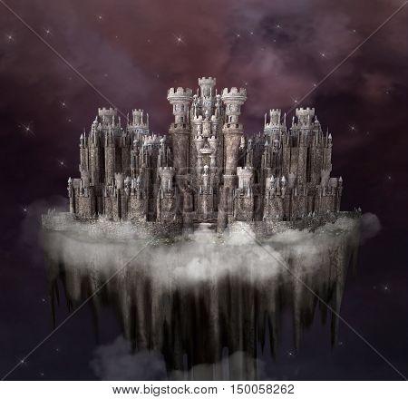 Fantasy citadel - 3D and digital painted illustration