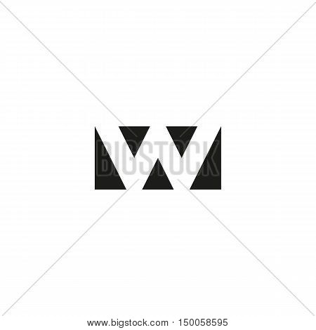 Letter W logo app icon mockup black and white geometric triangles typography emblem wave shape