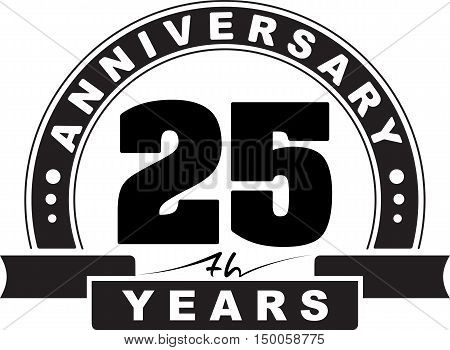 Vintage anniversary 25 years round emblem. Retro styled vector background.