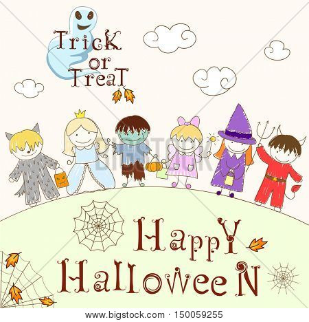 Vector sketches with happy children in Halloween masks. Sketch in doodle style. Inscriptions Happy Halloween and Trick or Treat