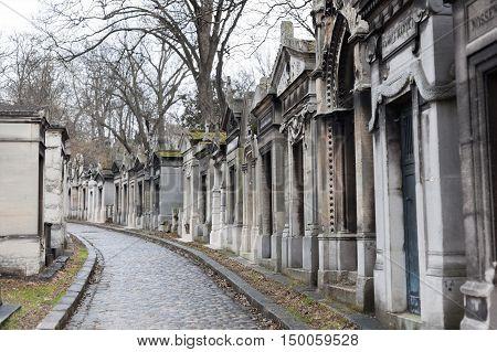 Paris, France - March 01, 2014: Pere Lachaise Cemetery. Pere Lachaise Cemetery is the largest cemetery in the city of Paris