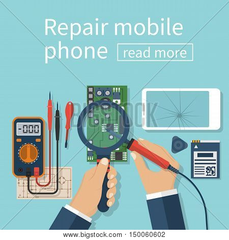 Repair mobile phone. Vector illustration flat design. Technician men working with electronics. Desk with tools for service. Broken smartphone.