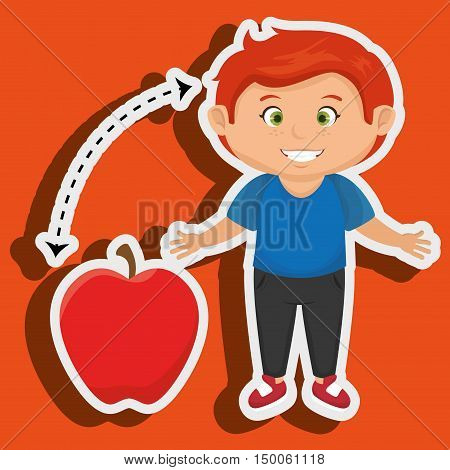 boy cartoon fruit apple red vector illustratin eps 10