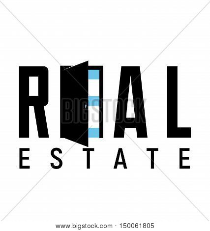 Logo template real estate apartment condo house. Vector illustration flat style. Logotype for rental business. Open door icon