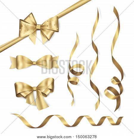 Vector set of shiny golden ribbons and bows. Collection of realistic elements for your design gift card or invitation. Isolated from the background.