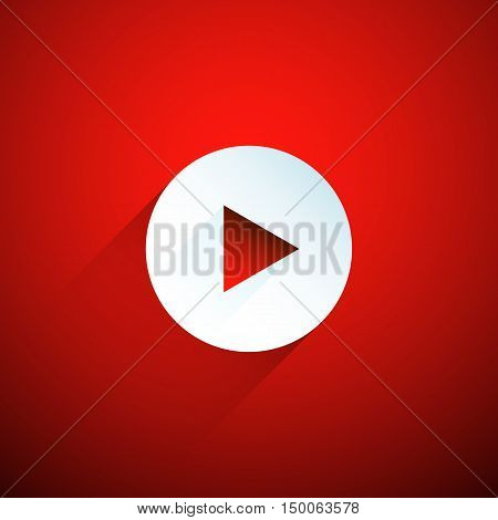 White play button on red background. Vector illustration eps 10.