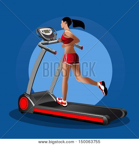 Girl on the treadmill. Running girl. Treadmill, mill, speedwalk, racetrack, running track. Vector icon. Sport equipment. Fitness design. Vector realistic illustration for sports clubs and gyms