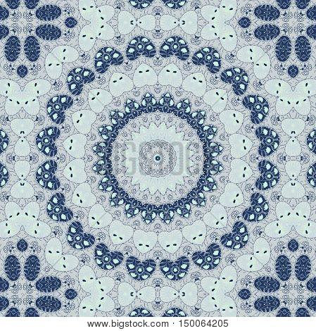 Folk ornamental textile seamless kaleidoscopic pattern print background