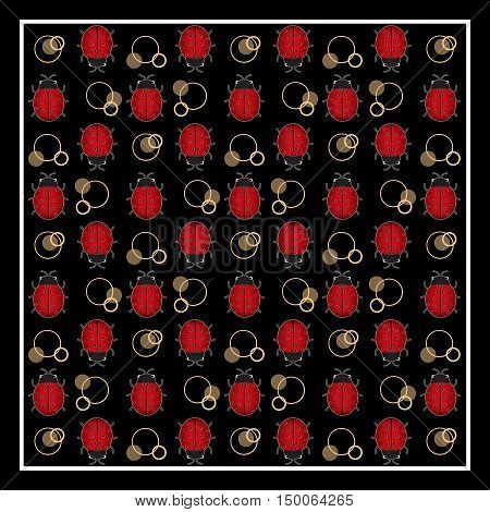 Ladybug print with circles on black background in frame border