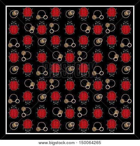 Ladybug print with circles on black background in frame border