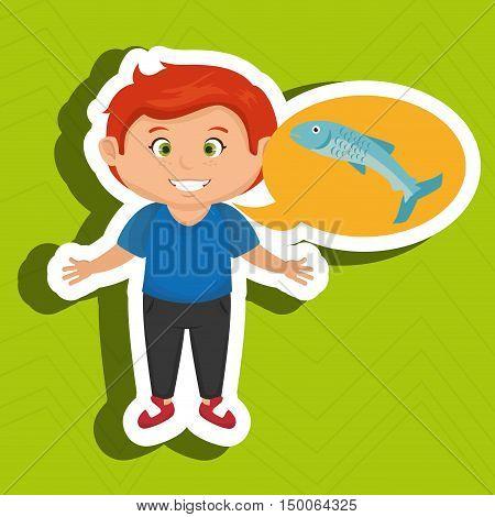 boy cartoon food fish fresh vector illustration eps 10