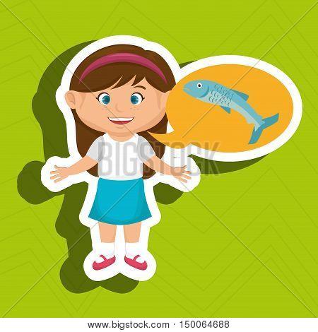 girl cartoon food fish fresh vector illustration eps 10