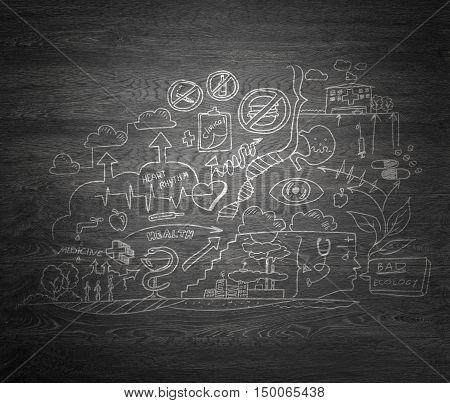 Idea of bad ecology and health interaction on gray wooden background