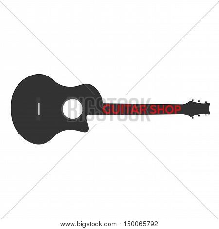 Guitar Lessons, School Logo. Vector Flat Illustration. Music.