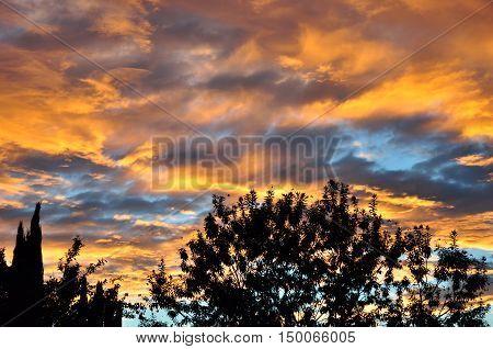 View of a beautiful sunset in San Jacinto, California.