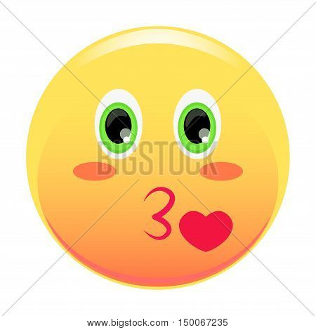Kiss smiley. Heart flying out of his mouth. Smiley cartoon style. Vector illustration.