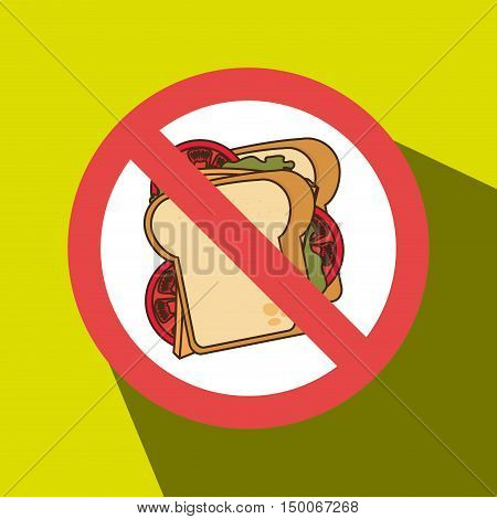 sandwich fast food unhealth prohibited vector illustration eps 10