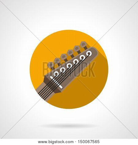 Guitar headstock with six pegs and strings. Rock music symbol. Part of musical instruments, equipment for bands, studio. Round flat color design vector icon.