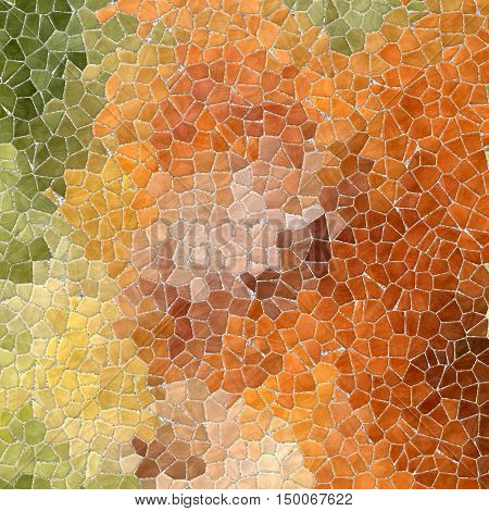 natural autumn colored abstract marble irregular plastic stony mosaic pattern texture background with gray grout - green orange and brown colors