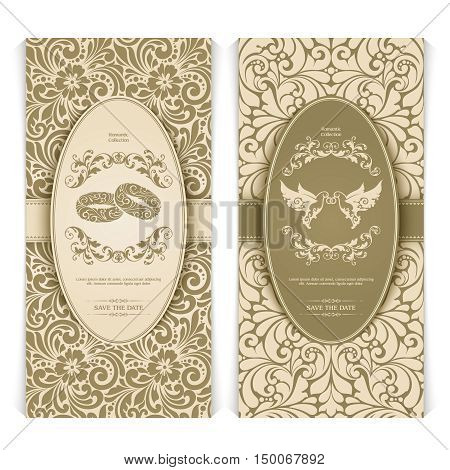 Vector set vintage template with seamless pattern, decor frame and ornate design element: couple birds with rings, couple of rings. Elegant lace wedding invitation design, Greeting Card, banner