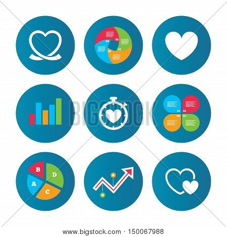 Business pie chart. Growth curve. Presentation buttons. Heart ribbon icon. Timer stopwatch symbol. Love and Heartbeat palpitation signs. Data analysis. Vector