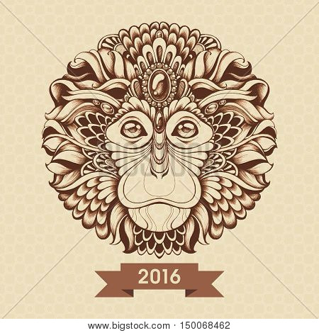 Vintage ornate zentagle monkey vector illustration. Monkey head with ethnic motifs, decorative elements. Hand drawn graphics. Tattoo design, poster, print, T-shirt, greeting card. Symbol of 2016