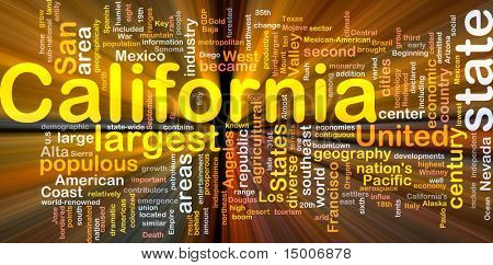 Background concept wordcloud illustration of California American state glowing light