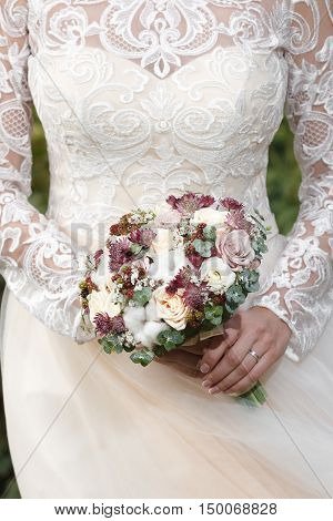 White, ivory and dusty pink bridal bouquet