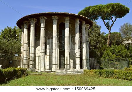 Rome Italy - September 12 2016 : The historical Temple of Hercules Victor in Rome
