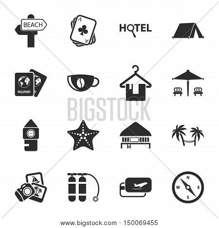 travel 16 icons universal set for web and mobile flat