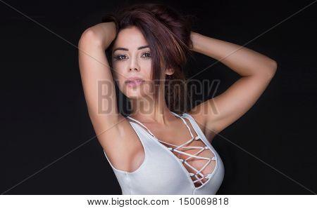Beautiful Sexy Brunette Woman In Studio.