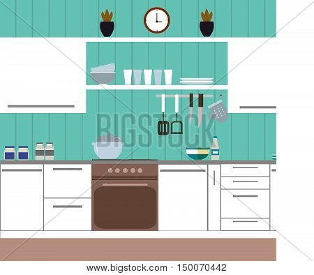 Kitchen with blue wall and housewares and home accessories