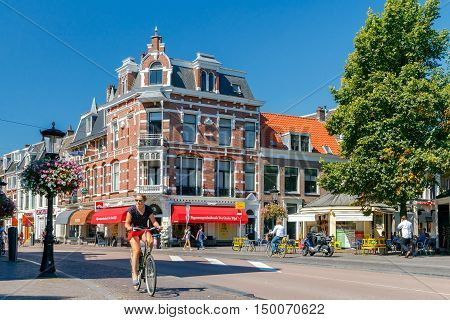 Utrecht. Netherlands - August 24 2016: Cyclists on the bike path in Utrihte. Bicycles are the most widespread means of transport in the Netherlands.
